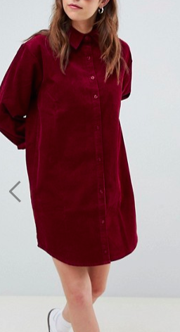 ASOS DESIGN cord shirt dress in oxblood