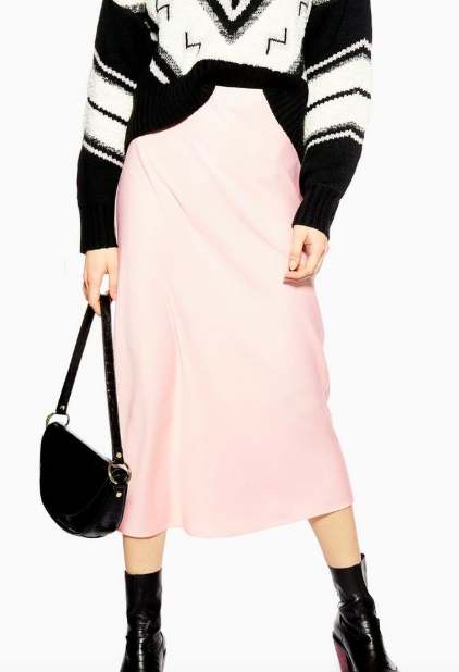 Topshop Satin Bias Midi Skirt