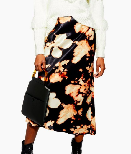 Topshop Tie Dye Satin Bias Midi Skirt