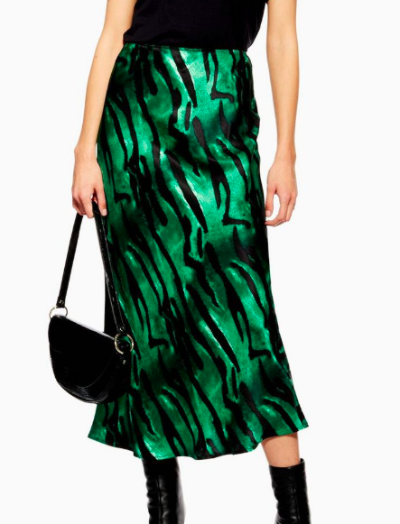 Topshop Tiger Print Satin Bias Midi Skirt