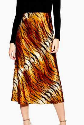 Topshop Tiger Satin Bias Midi Skirt