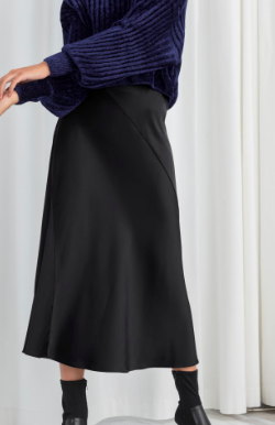 Stories Satin Midi Skirt