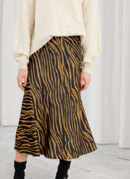 Stories Zebra Print Midi Skirt