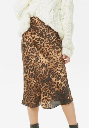 Forever 21 Satin Leopard Skirt