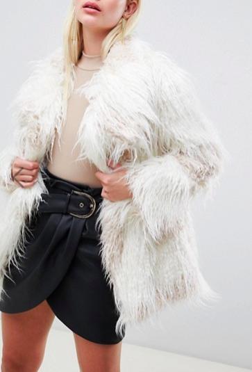 ASOS DESIGN borg patched coat