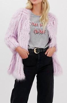 River Island faux fur coat in purple