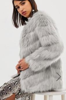River Island faux fur paneled jacket