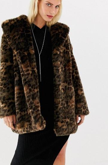 AllSaints Amice faux fur coat in leopard