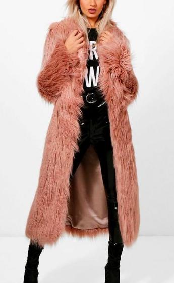 Boohoo Boutique Mongolian Maxi Faux Fur Coat