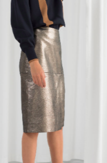 Stories Metallic Leather Pencil Skirt