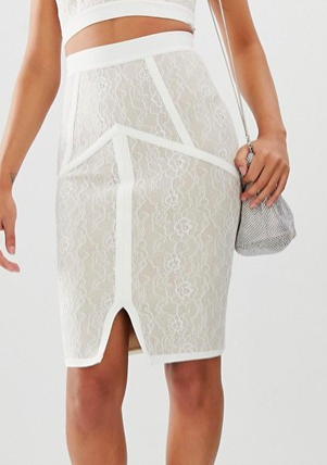 The Girlcode bandage skirt with lace in cream two-piece