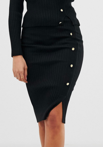 Lipsy knitted rib skirt with button through in black two-piece