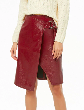 Forever 21 Faux Patent Leather D-Ring Skirt