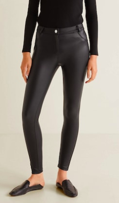 Mango Glossed-effect leggings