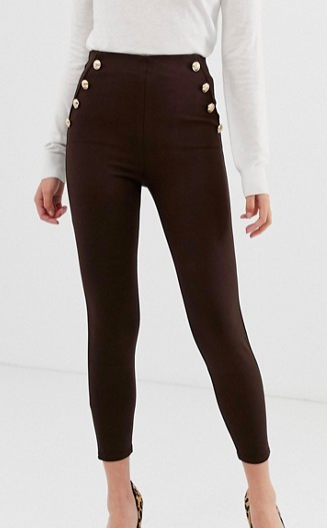 River Island leggings with button detail in brown