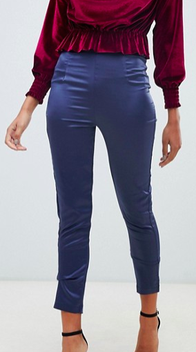 Boohoo exclusive satin tapered leg pants in navy