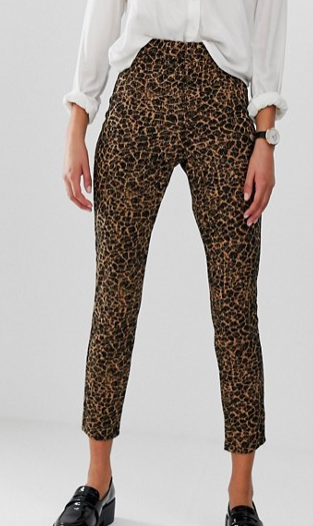 ASOS DESIGN leopard jaquard pull on skinny pants