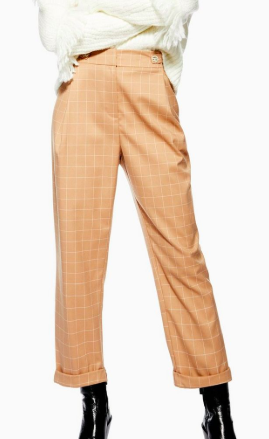 Topshop Windowpane Check Mensy Trousers