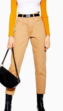 Topshop Sand Utility Mom Jeans