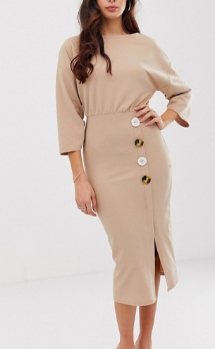 SAUTÉED GARLIC ALMOND GREEN BEANS ASOS DESIGN batwing shell button pencil dress