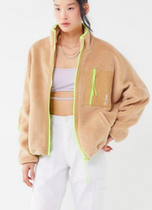 iets frans… Fleece Neon Trim Zip-Front Jacket