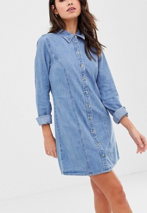 ASOS DESIGN denim fitted western shirt dress in midwash blue