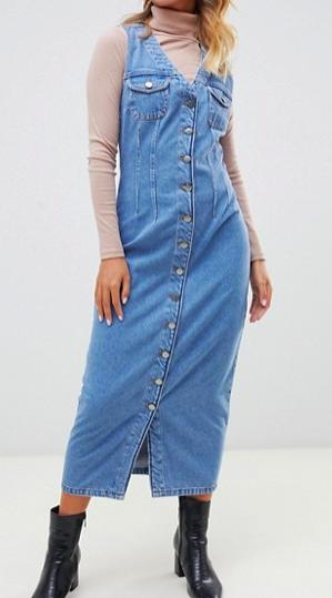 ASOS DESIGN denim button through sleeveless midi dress