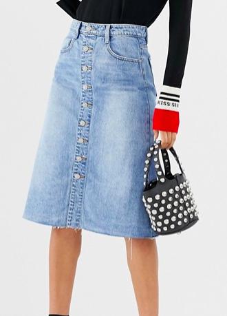 Miss Sixty button through a line denim skirt