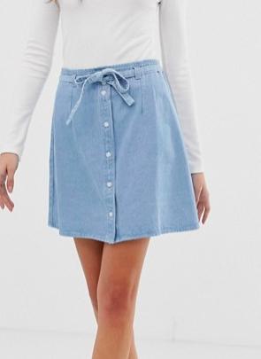 ASOS DESIGN denim button through mini skirt with skinny belt in pretty blue