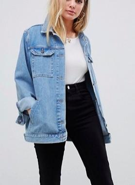 ASOS DESIGN denim girlfriend jacket in stonewash blue