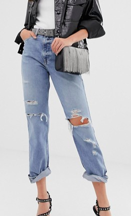 River Island mom jeans with ripped detail in mid wash