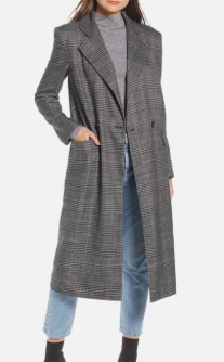 Plaid Topper Coat SOMETHING NAVY
