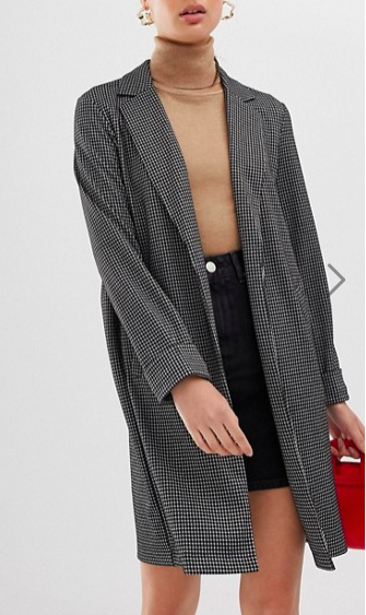 Pieces check lightweight spring coat