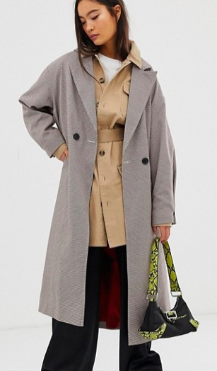 COLLUSION check trench coat