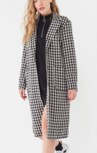 UO Checkered Longline Overcoat