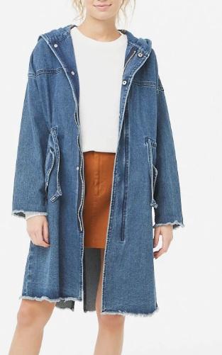 Forever 21  Hooded Longline Denim Jacket