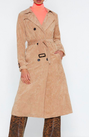 Nasty Gal Rain Check Corduroy Trench Coat