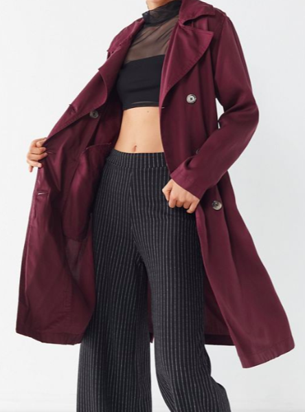 UO Belted Double-Breasted Trench Coat
