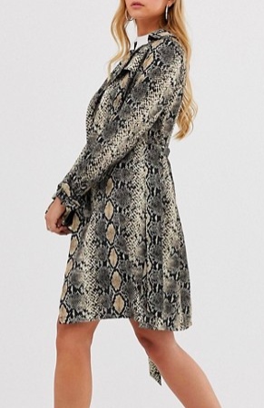 Boohoo belted midi trench coat in snake