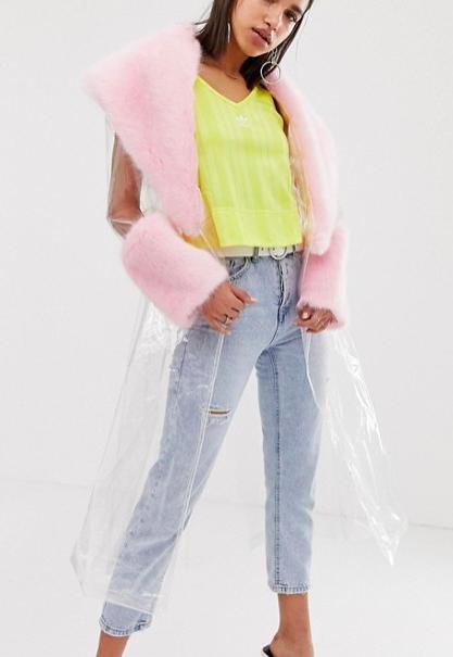 ASOS DESIGN clear mac with faux fur collar