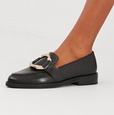 ASOS DESIGN Maroon bamboo ring leather loafers