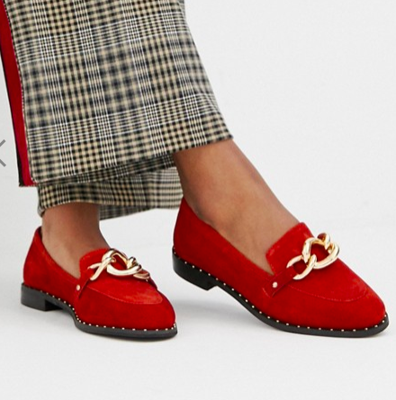 River Island leather loafers with chain buckle in red