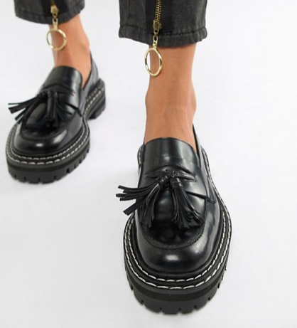 ASOS DESIGN Machine premium leather chunky tassel loafers