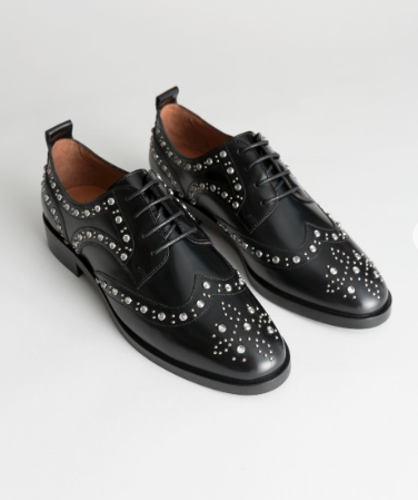 Rhinestone Stud Leather Brogues