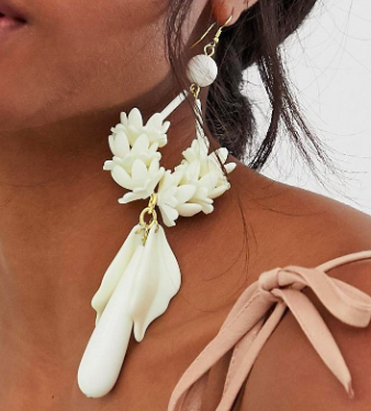 ASOS DESIGN drop earrings in statement floral resin design in white