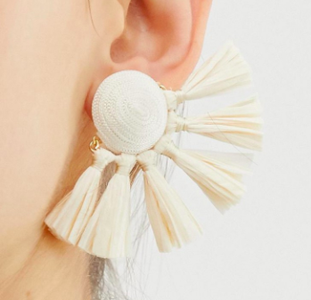 ASOS DESIGN statement earrings in natural color with raffia tassel