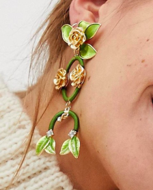 ASOS DESIGN statement earrings in pretty floral drops in gold