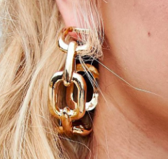 ASOS DESIGN statement hoop earrings in oversized open chain design in gold