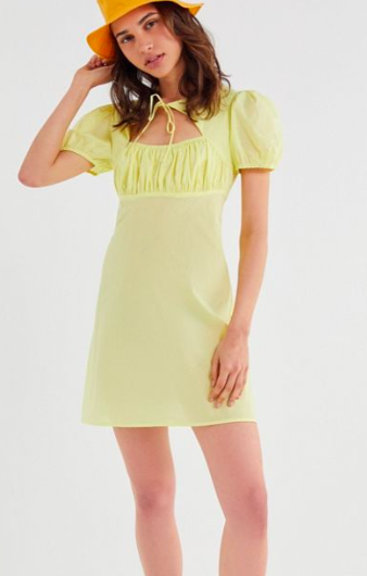 UO Winnie Tie-Front Cutout Mini Dress