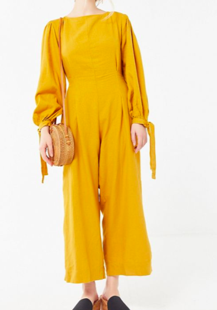 UO Catherine Linen Pleated Balloon Sleeve Jumpsuit
